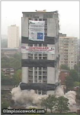 Barrie House, South Acton demolition photo. The block was demolished in July 2001. Isabella Wesoly began to write a poem about the block in 1983. Read her ode to the tower block here