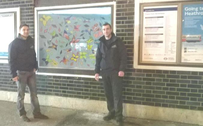Many thanks to the willing! two employees from Car Care in Northfields Avenue, for carrying the Diamonds and Butterflies to Northfields Station, for installation.
